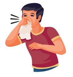 Boy in a red t-shirt sneezes into a handkerchief vector