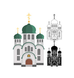 Cartoon christian church with green dome and cross vector