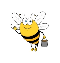 Cartoon flying bee with honey bucket waving hand vector