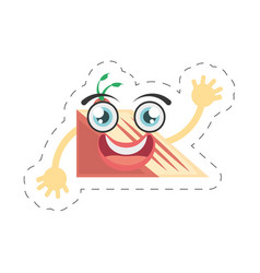 cartoon slice cake sweet cut line vector image