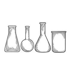 chemical laboratory flasks sketch engraving vector image