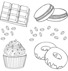 chocolate desserts collection chocolate cupcake vector image
