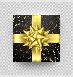 christmas gift box present golden ribbon bow gold vector image