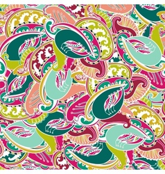 Colourful seamless Indian paisley pattern vector image