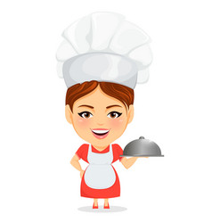cook woman female master chef funny cartoon vector image