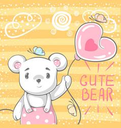 cute bear with air balloon vector image