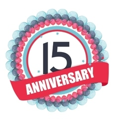 Cute Template 15 Years Anniversary with Balloons vector