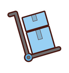 delivery cart boxes icon vector image