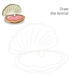 Draw oyster educational game vector