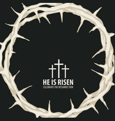 Easter banner with crown thorns and inscription vector