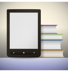 Electronic book reader with a stack books you vector