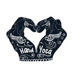 Element yoga mudra hands with mehndi patterns vector image
