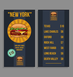 fast food restaurant menu template vector image
