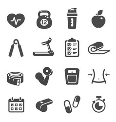 Fitness and sport black and white glyph icons set vector