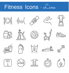 Fitness line icons set vector