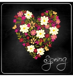 floral heart card cute retro flowers vector image
