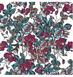 floral pattern with flowers in vintage style vector image