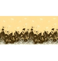 Flowers dandelions silhouettes seamless vector