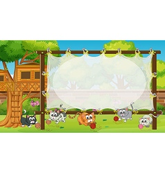 Frame template with kittens in field vector image