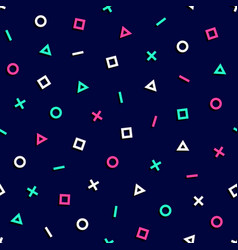 Geometric 80s shapes seamless pattern background vector
