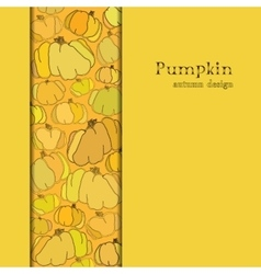 Golden autumn background with border design vector