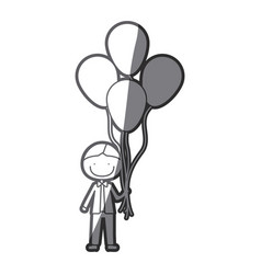Grayscale silhouette of caricature of smiling kid vector