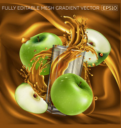 Green apples and a glass splashing juice vector