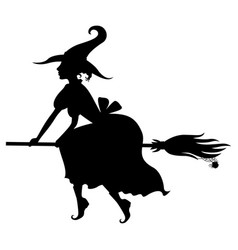 halloween witch silhouette on broom vector image