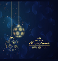 hanging golden christmas balls blue background vector image