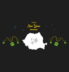 Happy new year theme with map of romania vector