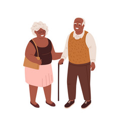 Happy old couple black-skinned man and woman vector