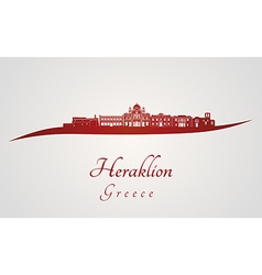 Heraklion skyline in red vector image