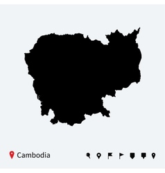 High detailed map of Cambodia with navigation pins vector