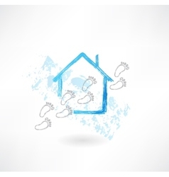 House and footsteps grunge icon vector