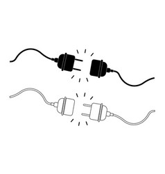 icon plug and socket 404 error disconnect vector image