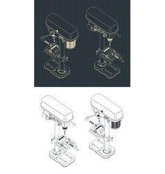 Industrial drill press isometric drawings vector