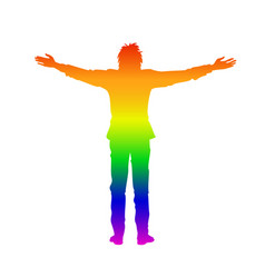 Isolated rainbow silhouette of man with open arms vector