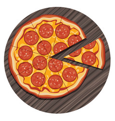 italian pizza with a slice on vector image