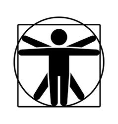 Leonardo da Vinci Vitruvian Man Sign Logo Stick vector image