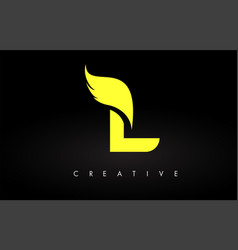 Letter l logo with yellow colors and wing design vector