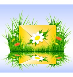 Letter or sms in grass spring summer style vector image