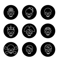 linear skulls icons on black circles vector image