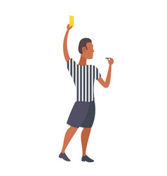 Man professional soccer referee showing yellow vector