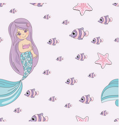 mermaid smile sea travel seamless pattern vector image