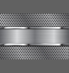 metal background brushed iron plate on perforated vector image