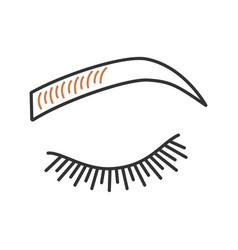 Microblading eyebrows color icon vector