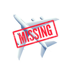 Missing airplane plane with stamp missing vector