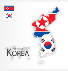 North korea flag and map vector