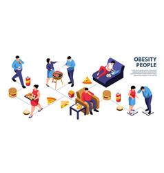 Obesity people isometric infographics vector