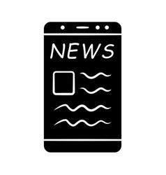 online news glyph icon electronic newspaper vector image